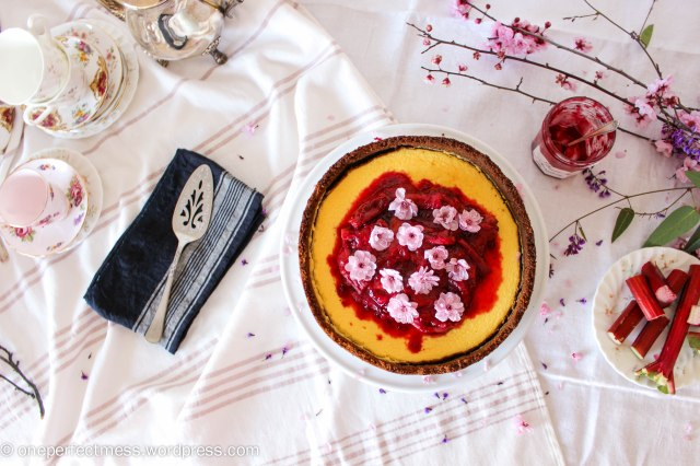 Rhubarb Raspberry Compote Ginger Goats Curd Cheese Cheesecake recipe One Perfect Mess 5