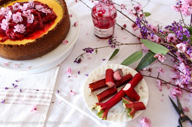 Rhubarb Raspberry Compote Ginger Goats Curd Cheese Cheesecake recipe One Perfect Mess 6