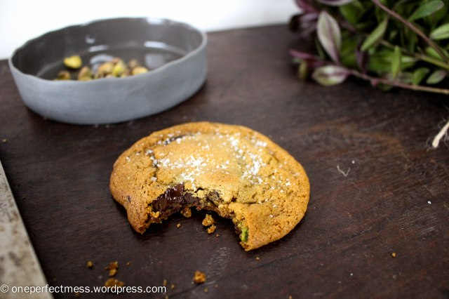 Salted Dark Chocolate Chip, Pistachio Nut and Honey Cookies soft chewy moist crunchy crispy recipe One Perfect Mess 1