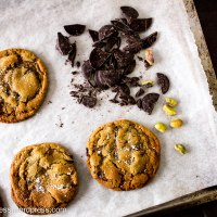 Dark Chocolate, Pistachio and Honey Cookies