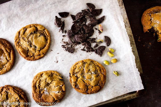 Salted Dark Chocolate Chip, Pistachio Nut and Honey Cookies soft chewy moist crunchy crispy recipe One Perfect Mess 2