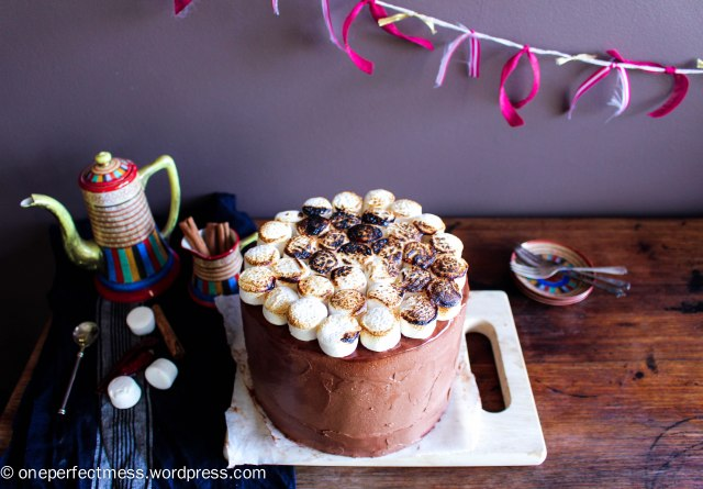 Mexican Hot Chocolate Layer Cake with Toasted Marshmallows cinnamon chilli dark chocolate swiss meringue buttercream recipe One Perfect Mess 1