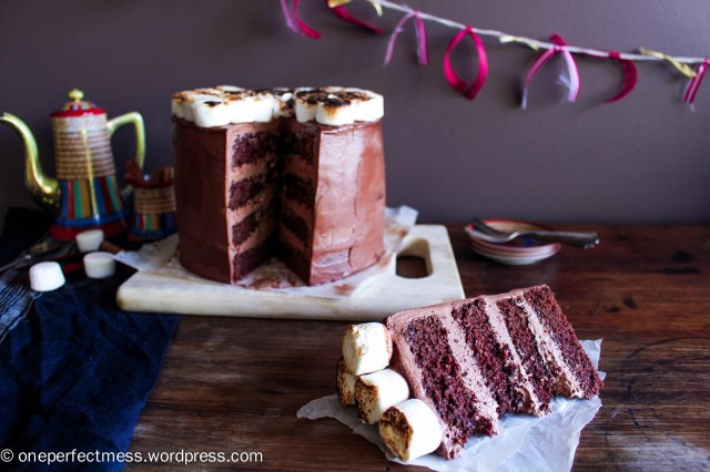 Mexican Hot Chocolate Layer Cake with Toasted Marshmallows cinnamon chilli dark chocolate swiss meringue buttercream recipe One Perfect Mess 12