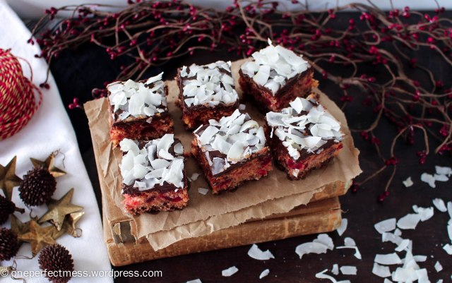 Cherry Chocolate and Coconut Slice recipe One Perfect Mess Cherry Ripe cherries easy Christmas fudge 2