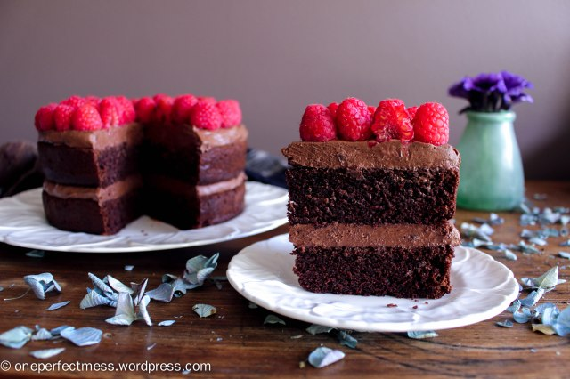 Dark Chocolate and Beetroot Cake with Chocolate Cream Cheese Frosting and Fresh Raspberries recipe One Perfect Mess moist rich soft raspberry easy 10