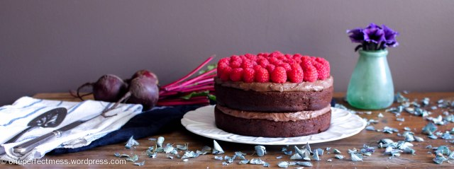 Dark Chocolate and Beetroot Cake with Chocolate Cream Cheese Frosting and Fresh Raspberries recipe One Perfect Mess moist rich soft raspberry easy 1