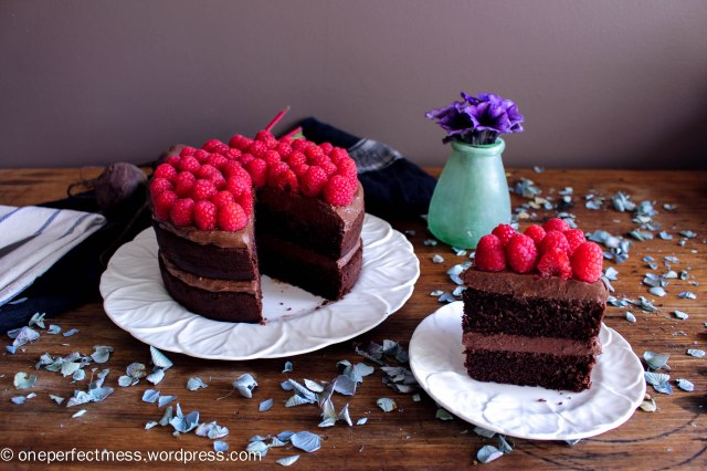 Dark Chocolate and Beetroot Cake with Chocolate Cream Cheese Frosting and Fresh Raspberries recipe One Perfect Mess moist rich soft raspberry easy 12