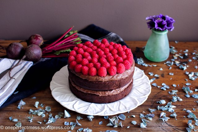 Dark Chocolate and Beetroot Cake with Chocolate Cream Cheese Frosting and Fresh Raspberries recipe One Perfect Mess moist rich soft raspberry easy 2