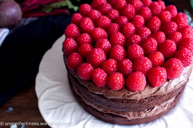 Dark Chocolate and Beetroot Cake with Chocolate Cream Cheese Frosting and Fresh Raspberries recipe One Perfect Mess moist rich soft raspberry easy 4