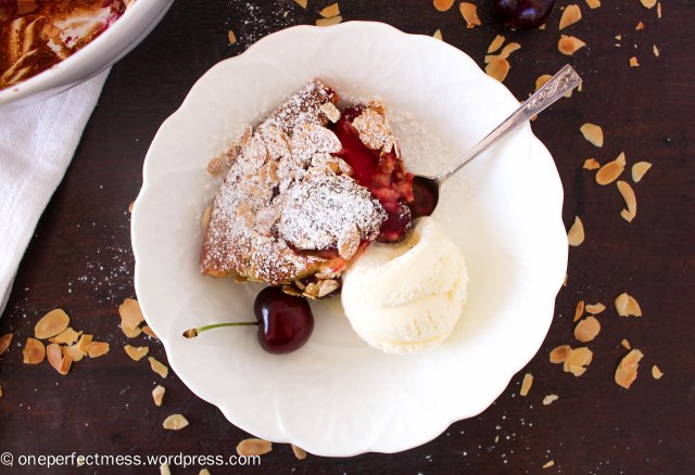 Fresh Plum and Whole Cherry Clafoutis One Perfect Mess recipe easy almond almonds gluten free French Christmas baking pudding dessert 4