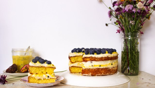 Vanilla Sponge Cake with Passionfruit Curd, Vanilla Whipped Cream and Fresh Blueberries One Perfect Mess recipe easy layer cake Donna Hay spring pretty naked cake 10