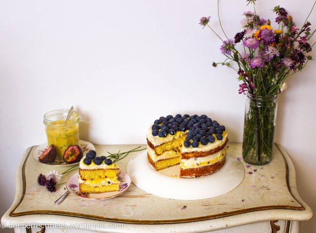 Vanilla Sponge Cake with Passionfruit Curd, Vanilla Whipped Cream and Fresh Blueberries One Perfect Mess recipe easy layer cake Donna Hay spring pretty naked cake 17