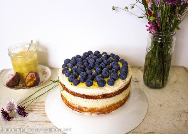 Vanilla Sponge Cake with Passionfruit Curd, Vanilla Whipped Cream and Fresh Blueberries One Perfect Mess recipe easy layer cake Donna Hay spring pretty naked cake 5
