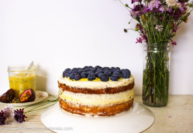 Vanilla Sponge Cake with Passionfruit Curd, Vanilla Whipped Cream and Fresh Blueberries One Perfect Mess recipe easy layer cake Donna Hay spring pretty naked cake 7