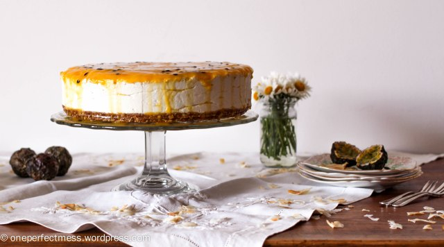 Mango, Passionfruit and Coconut Vegan Cheesecake One Perfect Mess vegan easy recipe baking healthy no refined  sugar free cashews cashew nuts dairy free lactose free gluten free wheat free frozen cheese cake 4
