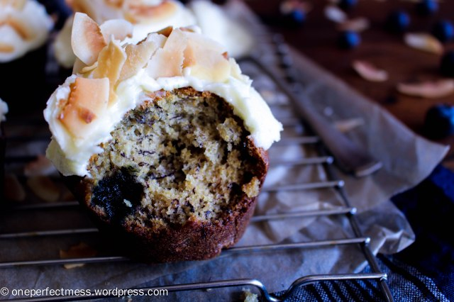 Banana and Blueberry Wholemeal Muffins with Lime Cream Cheese Frosting and Toasted Shaved Coconut Flakes One Perfect Mess recipe easy one bowl baking moist soft 9