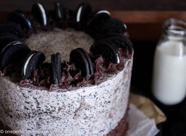 Crazy Cookies and Cream Oreo Celebration Layer Cake One Perfect Mess recipe four layers layered chocolate swiss merinuge buttercream sprinkles ganache baking 10