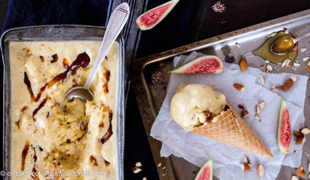 Fig, Honey and Roasted Almond Semifreddo Ice Cream easy recipe One Perfect Mess summer baking fig jam no churn no machine 2