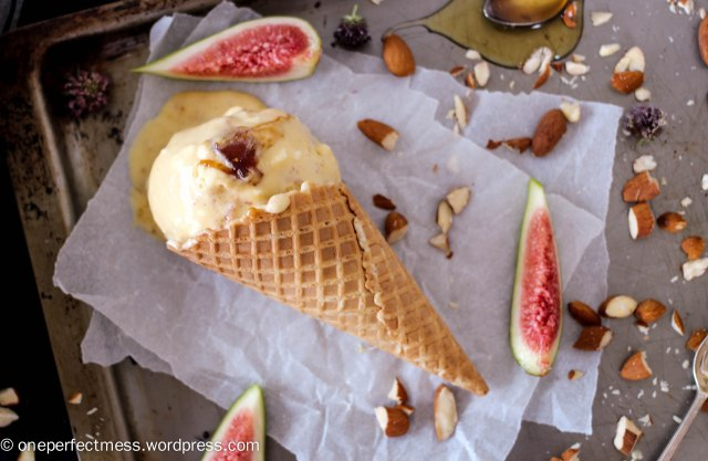 Fig, Honey and Roasted Almond Semifreddo Ice Cream easy recipe One Perfect Mess summer baking fig jam no churn no machine 4