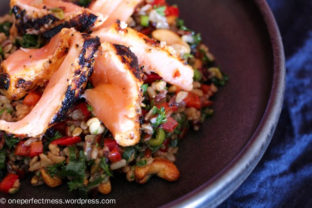 Marinated Grilled Salmon and Brown Rice Rainbow Salad easy savoury recipe One Perfect Mess Thai Asian healthy lunch dinner cashew capsicum soy sauce sweet chilli 12