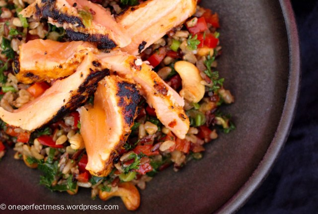Marinated Grilled Salmon and Brown Rice Rainbow Salad easy savoury recipe One Perfect Mess Thai Asian healthy lunch dinner cashew capsicum soy sauce sweet chilli 3