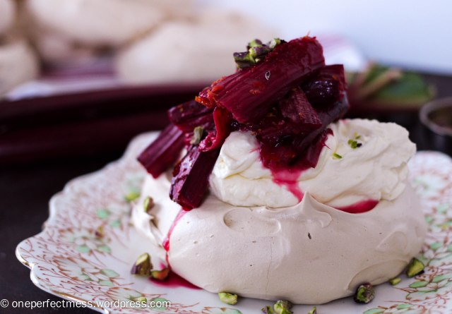 Brown Sugar Meringues with Orange Roasted Rhubarb, Pistachios and Honey Mascarpone Whipped Cream One Perfect Mess easy dessert recipe baking autumn fall meringue pistachio nuts 6
