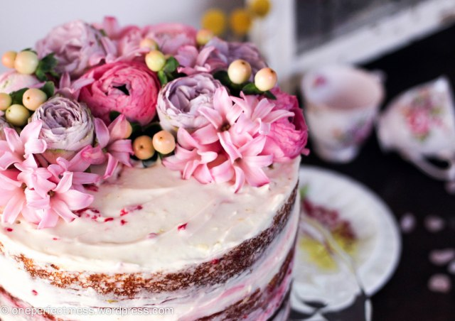 Lemon and Raspberry Naked Layer Cake recipe One Perfect Mess easy baking lemon cake raspberry cream cheese frosting raspberries from scratch fresh flowers rustic dessert 2