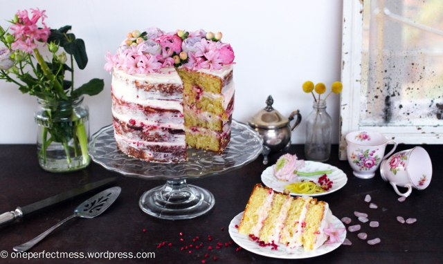 Lemon and Raspberry Naked Layer Cake recipe One Perfect Mess easy baking lemon cake raspberry cream cheese frosting raspberries from scratch fresh flowers rustic dessert 8