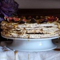 Brown Sugar Meringue Torte with Almonds, Dates, Figs and Honey Cream