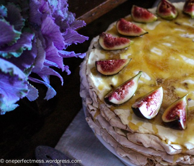 Brown Sugar Meringue Torte with Almonds, Dates, Figs and Honey Cream One Perfect Mess recipe gluten free easy baking pavlova no bake autumn fall almond fig date 4