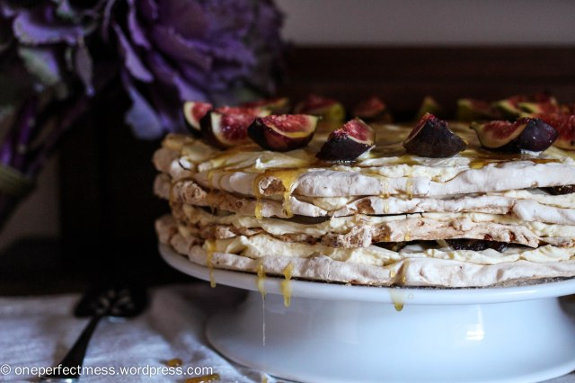 Brown Sugar Meringue Torte with Almonds, Dates, Figs and Honey Cream One Perfect Mess recipe gluten free easy baking pavlova no bake autumn fall almond fig date 6